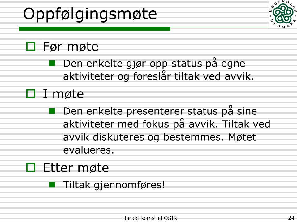 Harald Romstad ØSIR 24 Oppfølgingsmøte  Før møte  Den enkelte gjør opp status på egne aktiviteter og foreslår tiltak ved avvik.  I møte  Den enkel