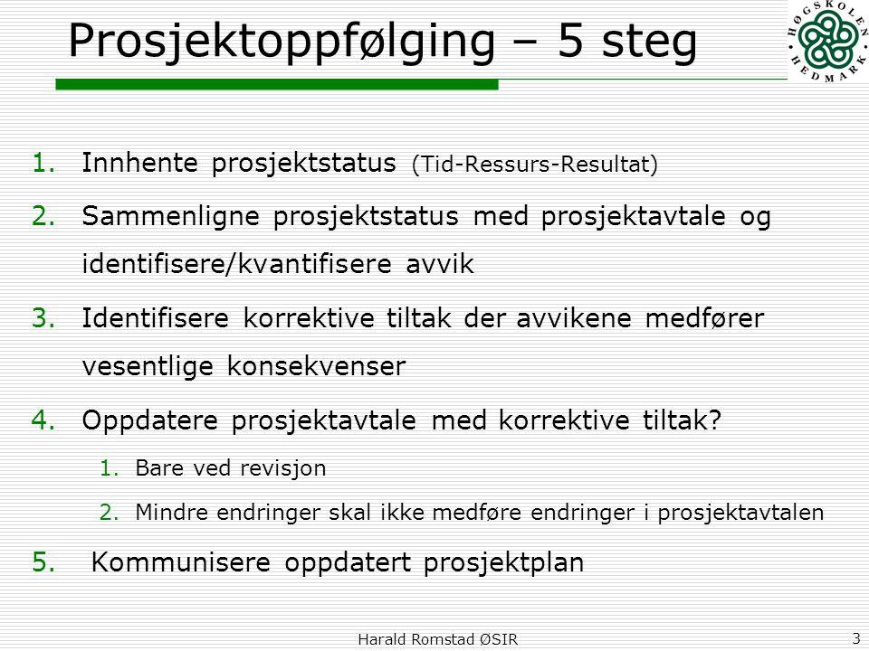 Harald Romstad ØSIR 3 Prosjektoppfølging – 5 steg 1.Innhente prosjektstatus (Tid-Ressurs-Resultat) 2.Sammenligne prosjektstatus med prosjektavtale og