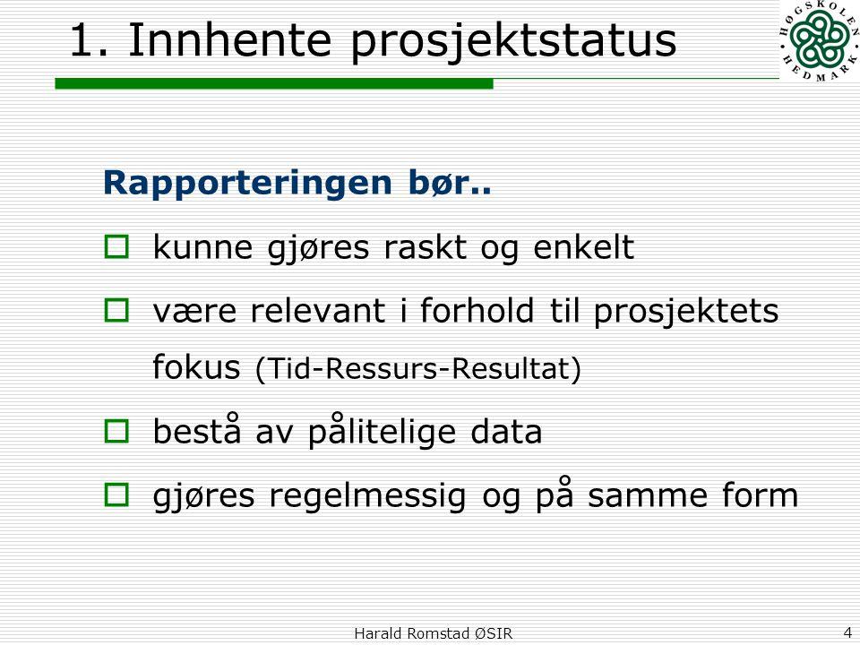 Harald Romstad ØSIR 4 1. Innhente prosjektstatus Rapporteringen bør..  kunne gjøres raskt og enkelt  være relevant i forhold til prosjektets fokus (