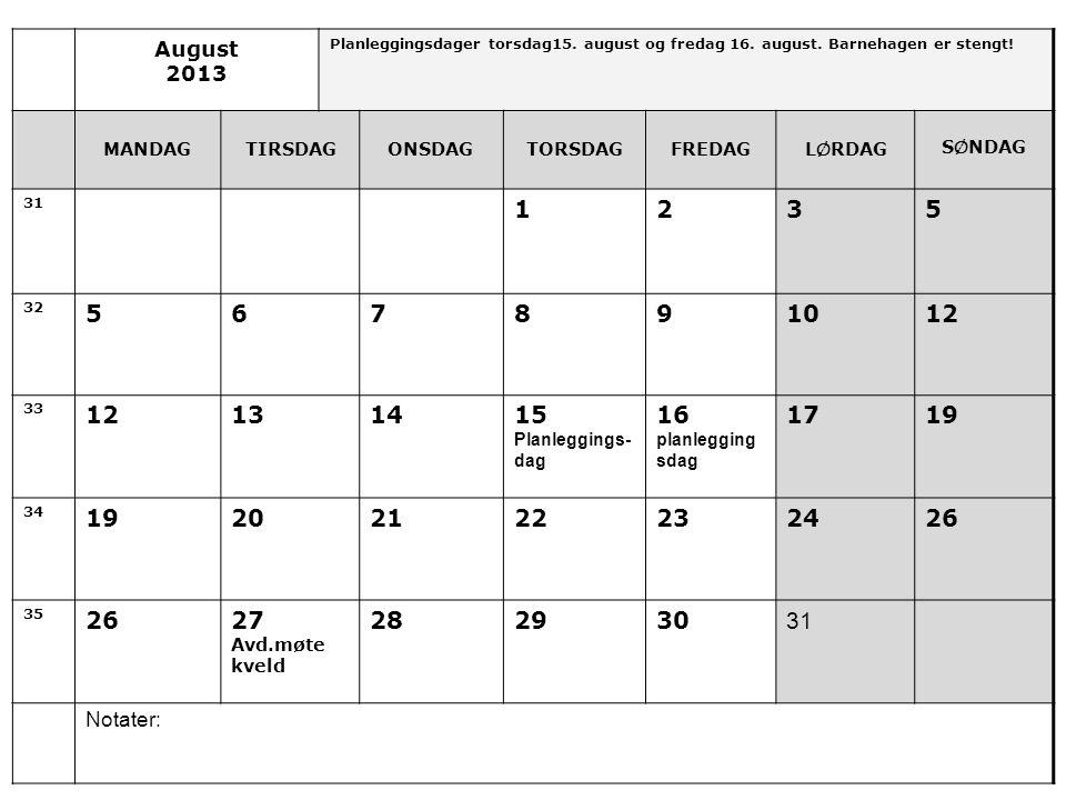 August 2013 Planleggingsdager torsdag15.august og fredag 16.