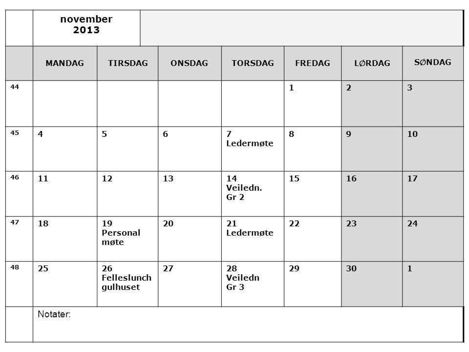 november 2013 MANDAGTIRSDAGONSDAGTORSDAGFREDAGL Ø RDAG S Ø NDAG 44 123 45 4567 Ledermøte 8910 46 11121314 Veiledn.