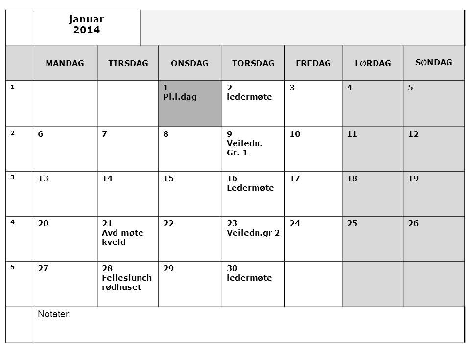 januar 2014 MANDAGTIRSDAGONSDAGTORSDAGFREDAGL Ø RDAG S Ø NDAG 1 1 Pl.l.dag 2 ledermøte 345 2 6789 Veiledn.