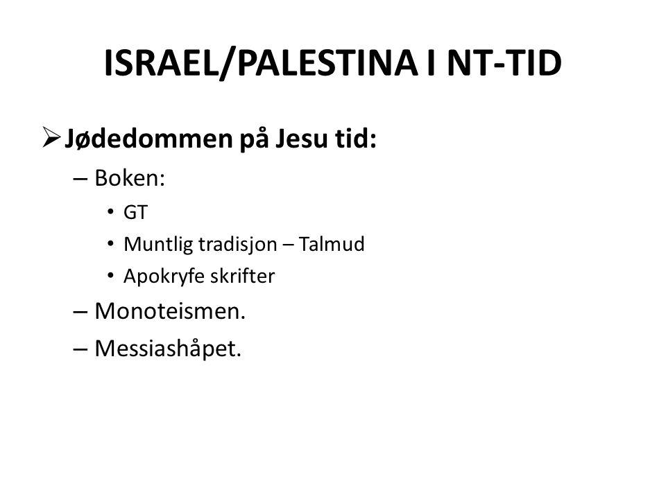 ISRAEL/PALESTINA I NT-TID  Jødedommen på Jesu tid: – Boken: • GT • Muntlig tradisjon – Talmud • Apokryfe skrifter – Monoteismen. – Messiashåpet.