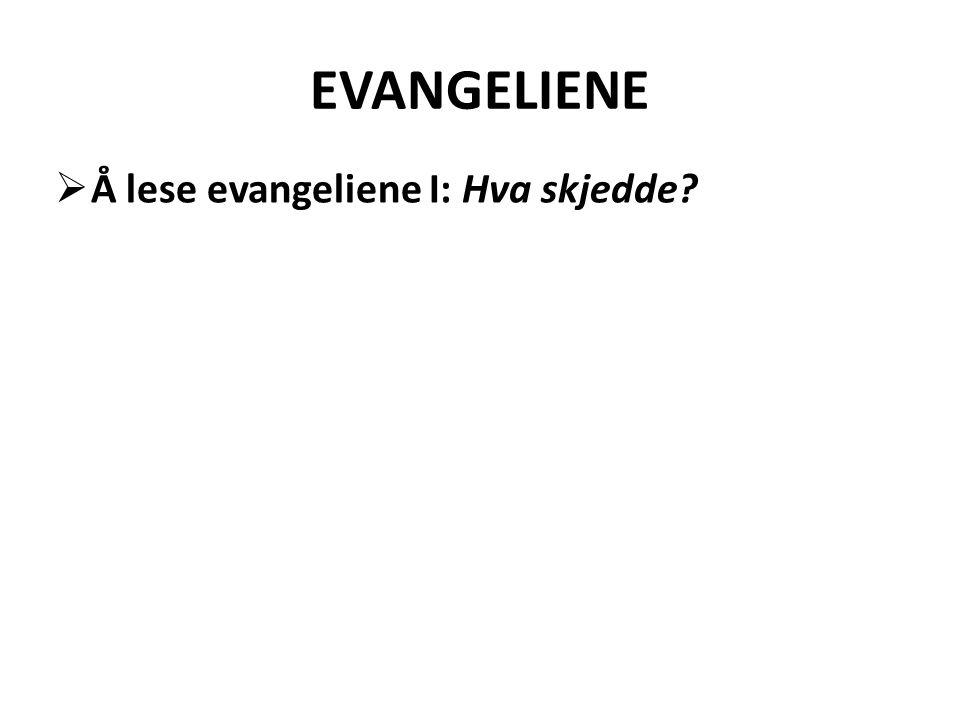 EVANGELIENE  Å lese evangeliene I: Hva skjedde?