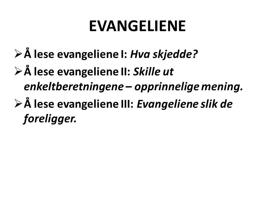 EVANGELIENE  Å lese evangeliene I: Hva skjedde?  Å lese evangeliene II: Skille ut enkeltberetningene – opprinnelige mening.  Å lese evangeliene III