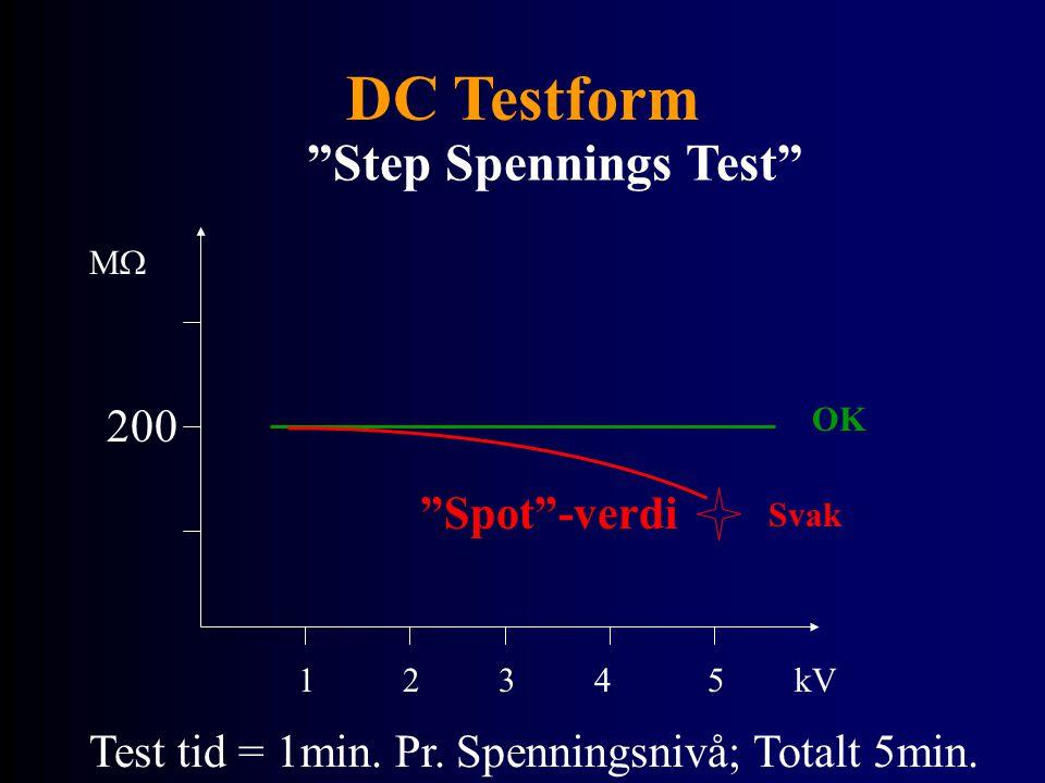 """DC Testform """"Step Spennings Test"""" MM kV12345 OK 200 Svak """"Spot""""-verdi Test tid = 1min. Pr. Spenningsnivå; Totalt 5min."""