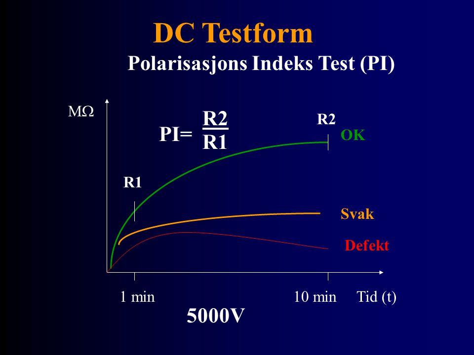 DC Testform Polarisasjons Indeks Test (PI) MM Tid (t)1 min 10 min Svak OK R1 R2 PI= R2 R1 Defekt 5000V
