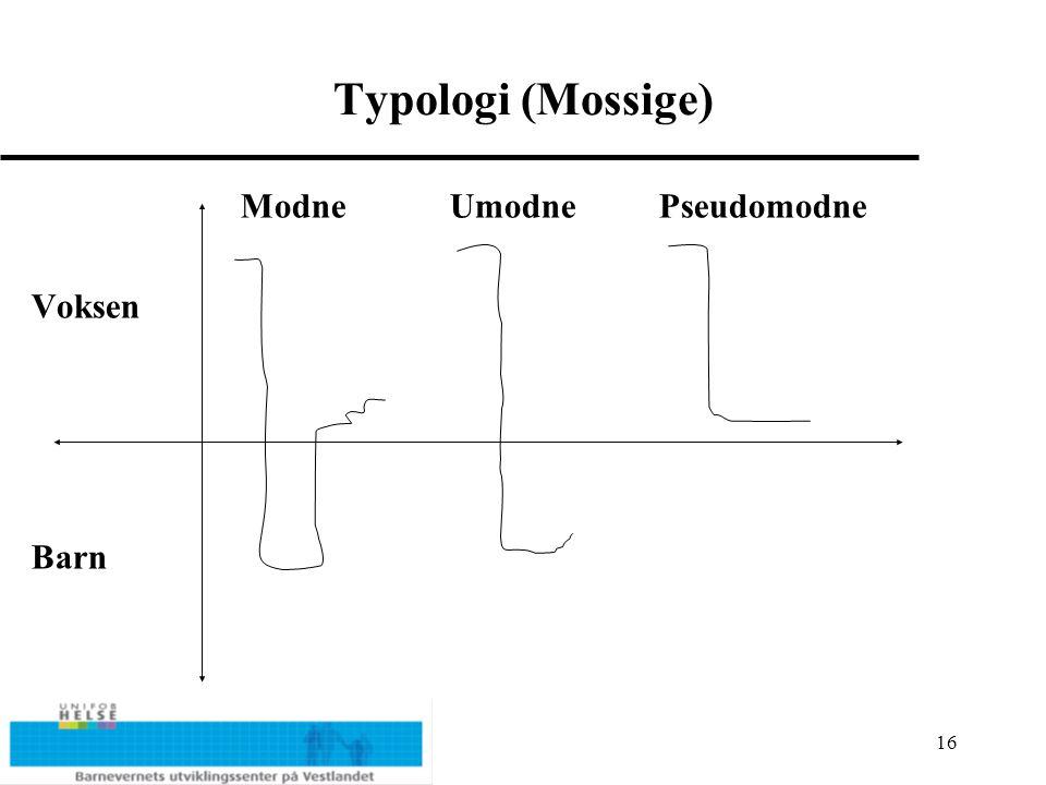 16 Typologi (Mossige) ModneUmodnePseudomodne Voksen Barn