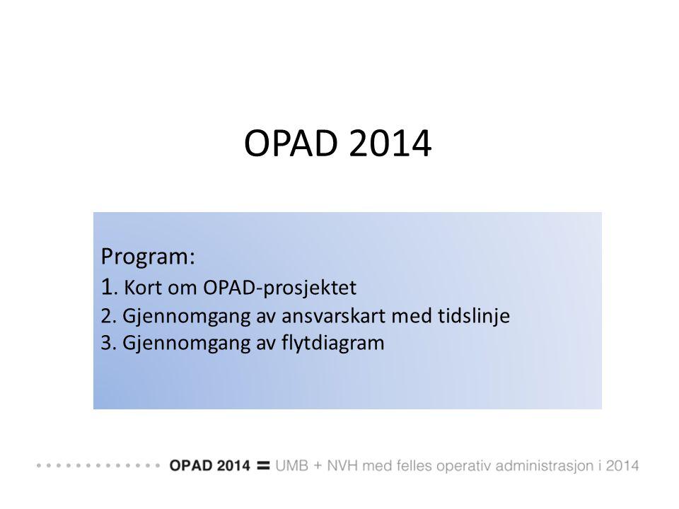 OPAD 2014 Program: 1. Kort om OPAD-prosjektet 2. Gjennomgang av ansvarskart med tidslinje 3. Gjennomgang av flytdiagram