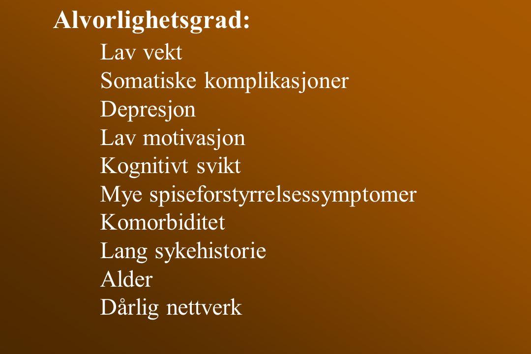 Alvorlighetsgrad: Lav vekt Somatiske komplikasjoner Depresjon Lav motivasjon Kognitivt svikt Mye spiseforstyrrelsessymptomer Komorbiditet Lang sykehis