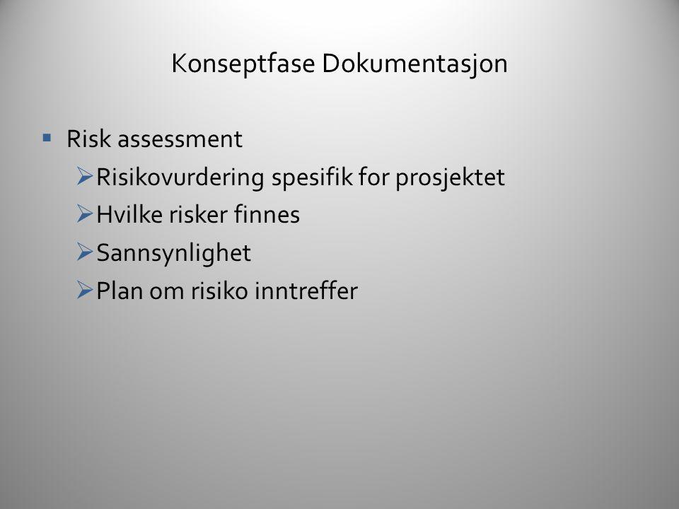 Konseptfase Dokumentasjon  Competetive analysis  Vurdering av eksisterende og fremtidig konkurrerende produkter