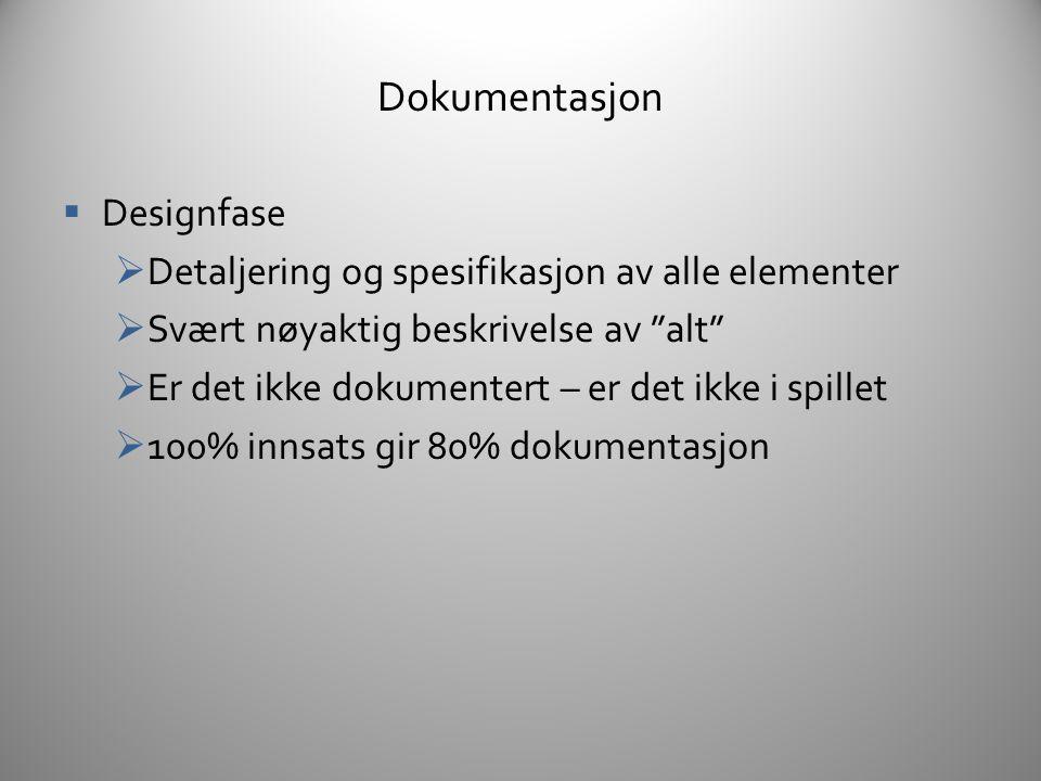 Designfase Dokumentasjon  System designs  Spesifikasjon av funksjonalitet, mekanismer, regler, etc.