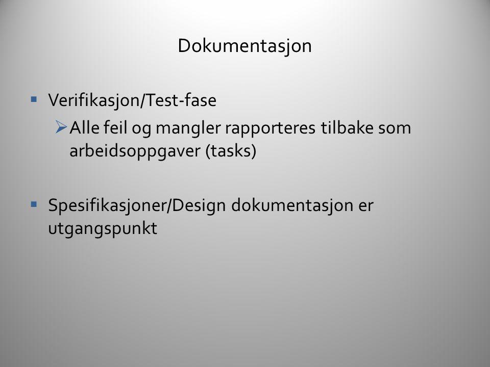 Verktøy  Prosjekt plan (MS Project)  Design/Spesifikasjon (Wiki)  Tasks (Bugzilla, Basecamp)  Bug-rapportering (Bugzilla)