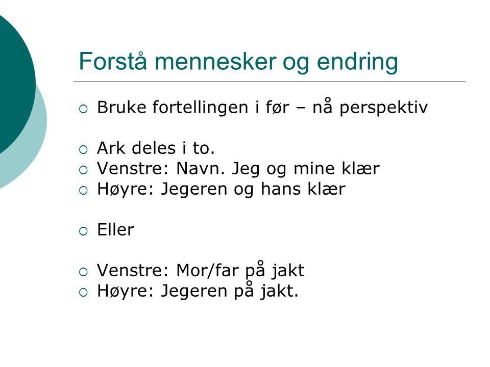  Bruke fortellingen i før – nå perspektiv  Ark deles i to.  Venstre: Navn. Jeg og mine klær  Høyre: Jegeren og hans klær  Eller  Venstre: Mor/fa