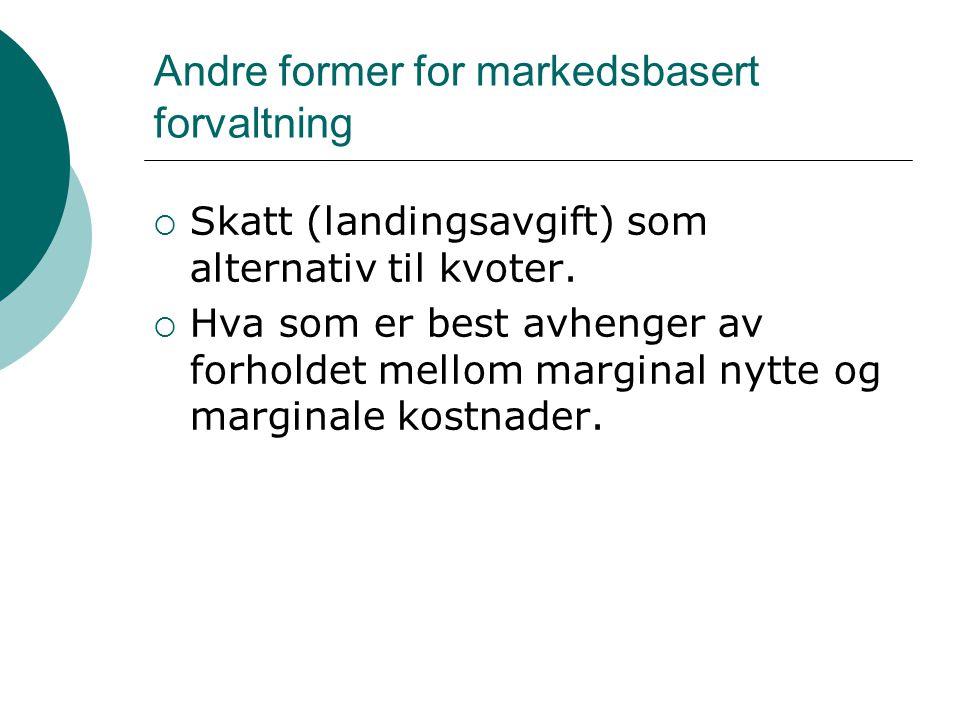 Andre former for markedsbasert forvaltning  Skatt (landingsavgift) som alternativ til kvoter.