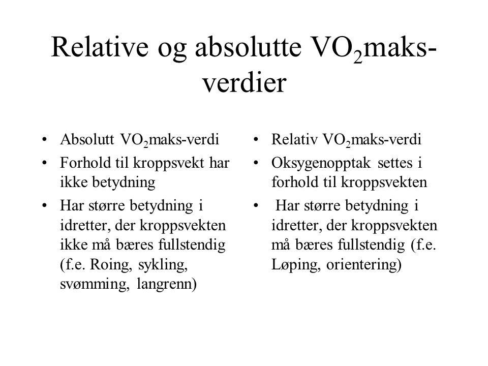 Relative og absolutte VO 2 maks- verdier •Absolutt VO 2 maks-verdi •Forhold til kroppsvekt har ikke betydning •Har større betydning i idretter, der kr
