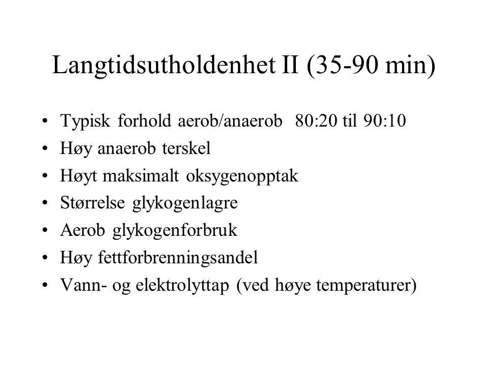 Langtidsutholdenhet II (35-90 min) •Typisk forhold aerob/anaerob 80:20 til 90:10 •Høy anaerob terskel •Høyt maksimalt oksygenopptak •Størrelse glykoge