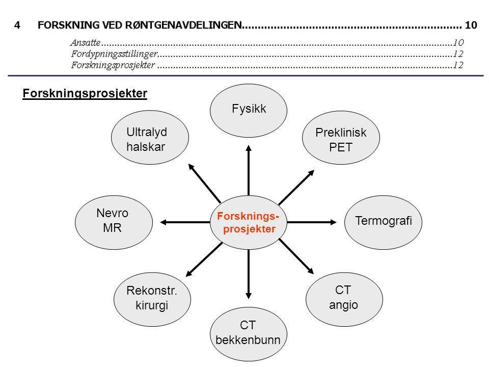 Forsknings- prosjekter Fysikk Preklinisk PET Termografi CT angio Ultralyd halskar Nevro MR Rekonstr.