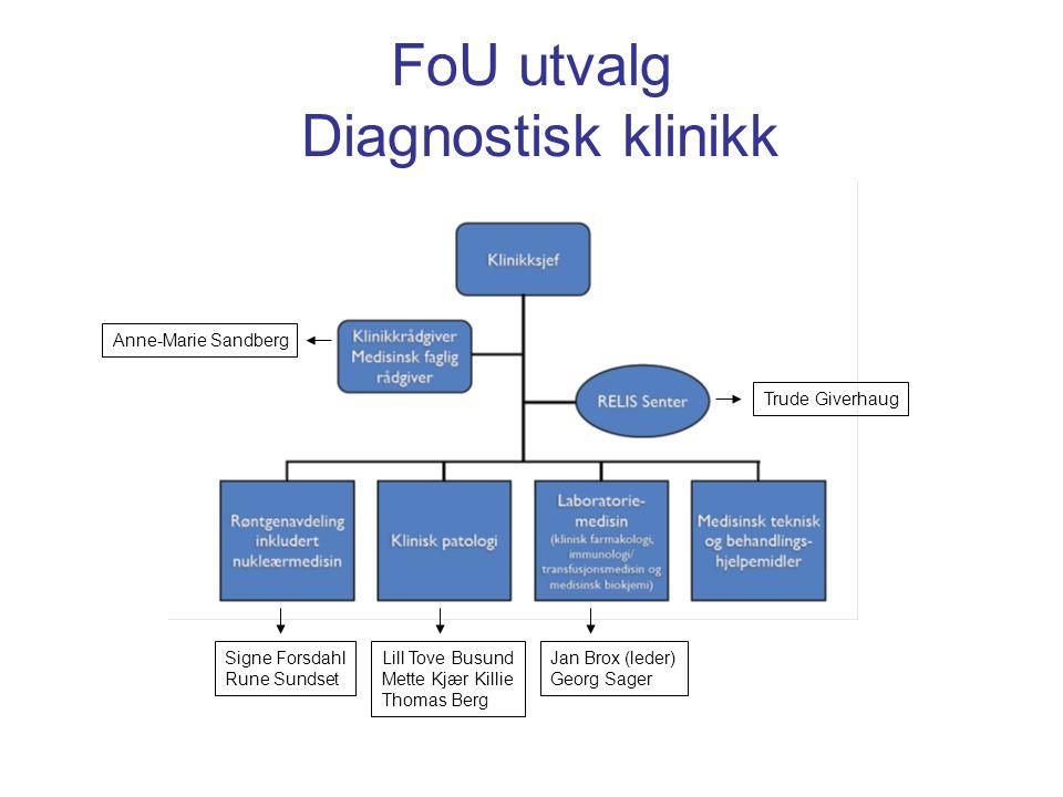 Oppdrag Ledersamling i Harstad 2010: Det skal lages avdelingsvise forskningsstrategier som skal bygges sammen til en FoU- strategi for Diagnostisk klinikk 31.01.12 28.02.12 06.03.12 13.03.12 20.03.12 27.03.12 Møtevirksomhet i FoU Røntgenavdeling