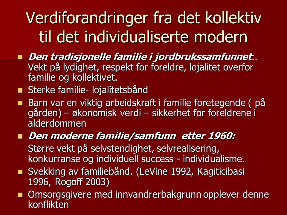 Verdiforandringer fra det kollektiv til det individualiserte modern  Den tradisjonelle familie i jordbrukssamfunnet:. Vekt på lydighet, respekt for f