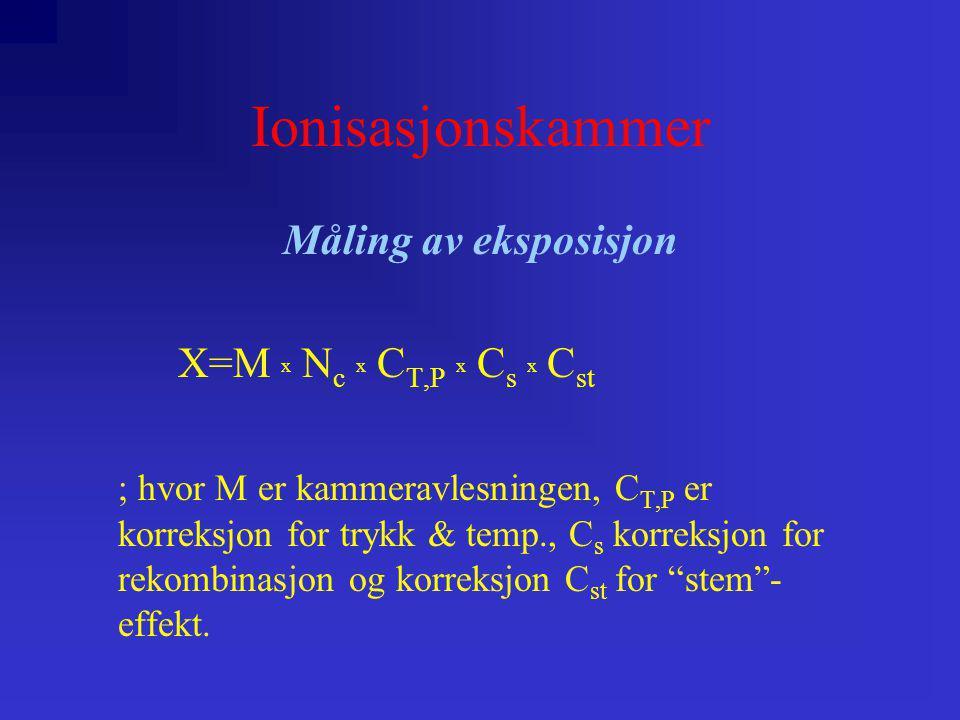 Ionisasjonskammer Måling av eksposisjon X=M x N c x C T,P x C s x C st ; hvor M er kammeravlesningen, C T,P er korreksjon for trykk & temp., C s korre