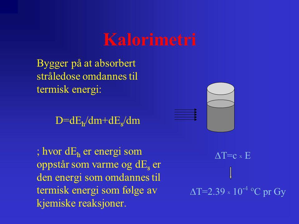 Kalorimetri Bygger på at absorbert stråledose omdannes til termisk energi: D=dE h /dm+dE s /dm ; hvor dE h er energi som oppstår som varme og dE s er