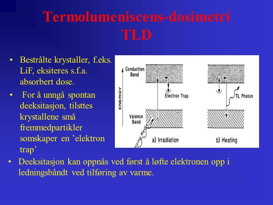 Termolumeniscens-dosimetri TLD •Bestrålte krystaller, f.eks. LiF, eksiteres s.f.a. absorbert dose. • For å unngå spontan deeksitasjon, tilsttes krysta