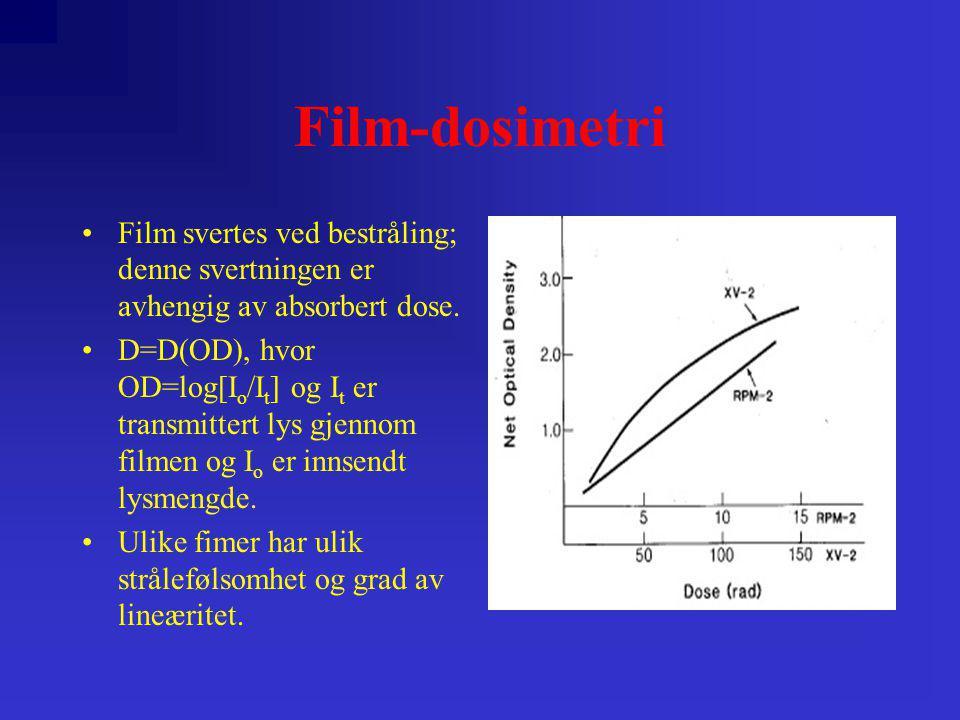 Film-dosimetri •Film svertes ved bestråling; denne svertningen er avhengig av absorbert dose. •D=D(OD), hvor OD=log[I o /I t ] og I t er transmittert