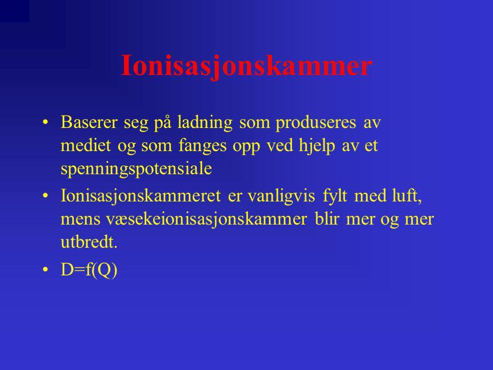 Ionisasjonskammer •Ladning skapes av ioniserende stråling •Ladning lagres v.h.a.
