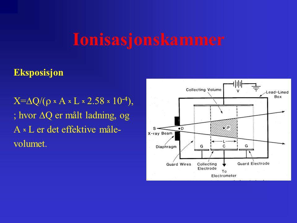 Kalorimetri Bygger på at absorbert stråledose omdannes til termisk energi: D=dE h /dm+dE s /dm ; hvor dE h er energi som oppstår som varme og dE s er den energi som omdannes til termisk energi som følge av kjemiske reaksjoner.