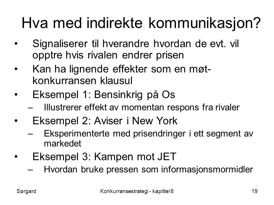 SørgardKonkurransestrategi - kapittel 619 Hva med indirekte kommunikasjon.