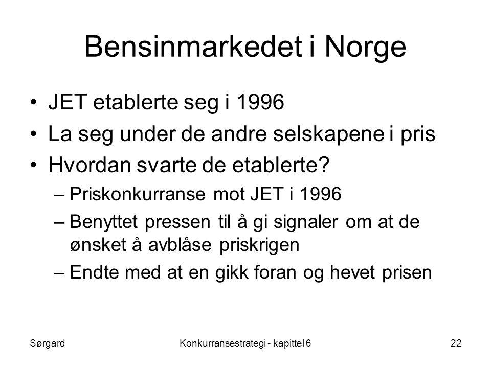 SørgardKonkurransestrategi - kapittel 622 Bensinmarkedet i Norge •JET etablerte seg i 1996 •La seg under de andre selskapene i pris •Hvordan svarte de etablerte.