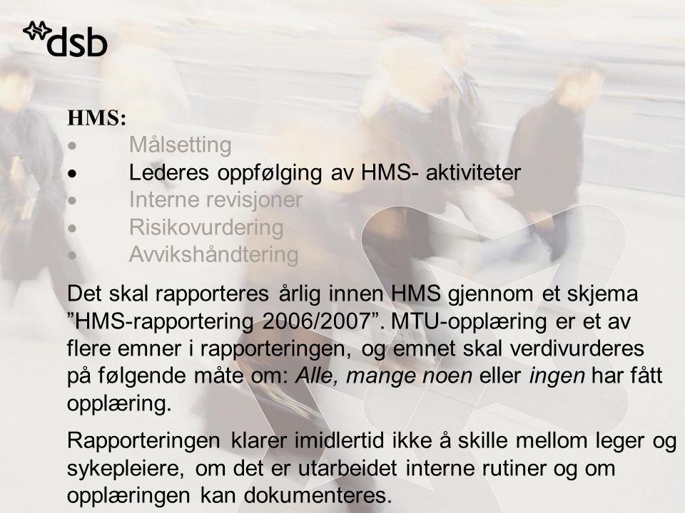 HMS:  Målsetting  Lederes oppfølging av HMS- aktiviteter  Interne revisjoner  Risikovurdering  Avvikshåndtering Det skal rapporteres årlig innen