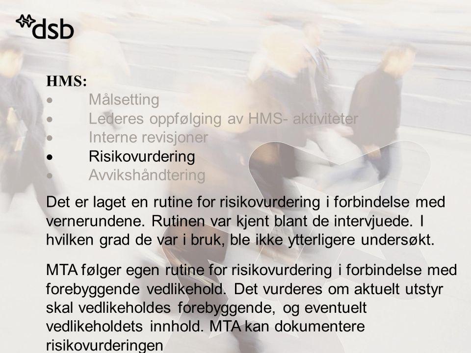 HMS:  Målsetting  Lederes oppfølging av HMS- aktiviteter  Interne revisjoner  Risikovurdering  Avvikshåndtering Det er laget en rutine for risiko