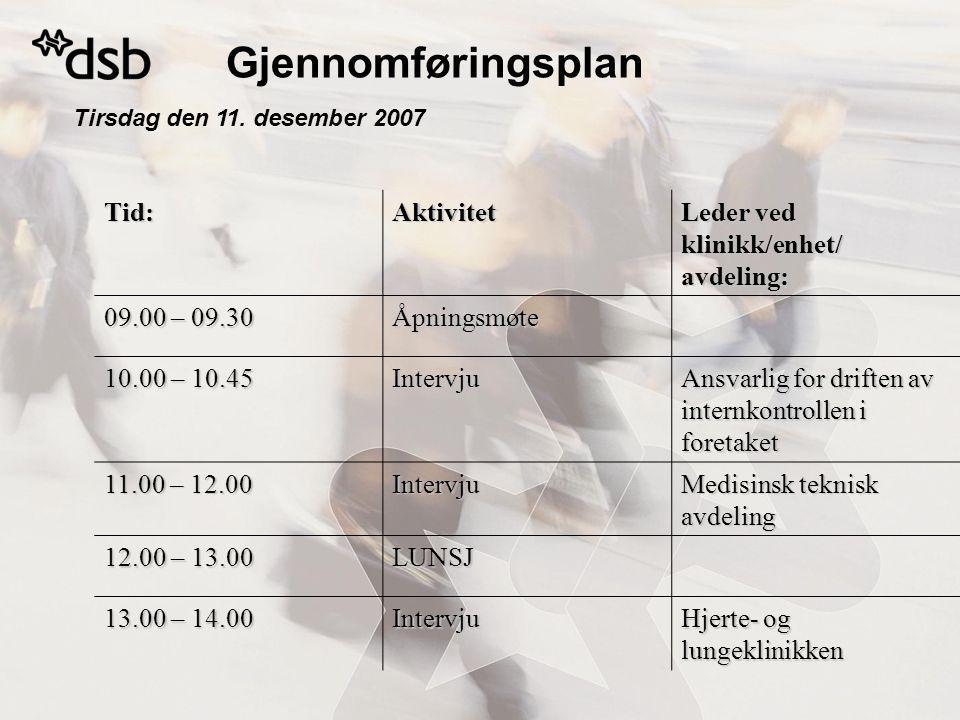 Tirsdag den 11. desember 2007 Tid:Aktivitet Leder ved klinikk/enhet/ avdeling: 09.00 – 09.30 Åpningsmøte 10.00 – 10.45 Intervju Ansvarlig for driften