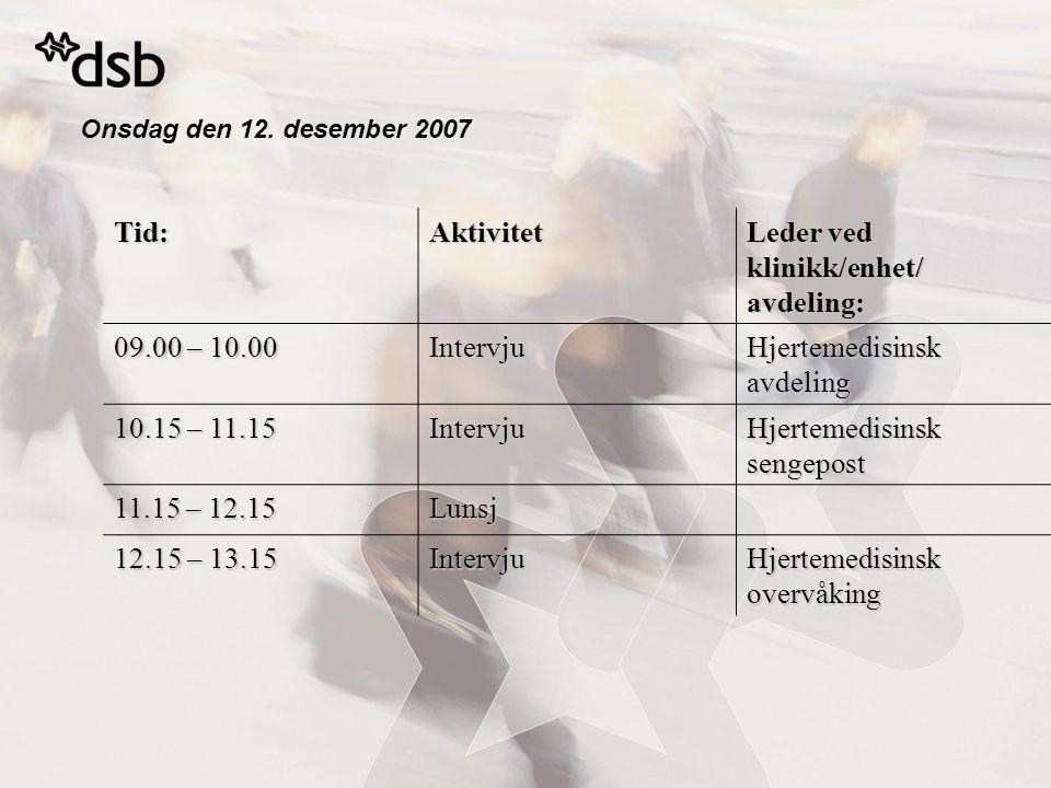 Onsdag den 12. desember 2007 Tid:Aktivitet Leder ved klinikk/enhet/ avdeling: 09.00 – 10.00 Intervju Hjertemedisinsk avdeling 10.15 – 11.15 Intervju H