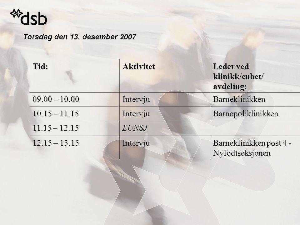 Torsdag den 13. desember 2007 Tid:Aktivitet Leder ved klinikk/enhet/ avdeling: 09.00 – 10.00 IntervjuBarneklinikken 10.15 – 11.15 IntervjuBarnepolikli