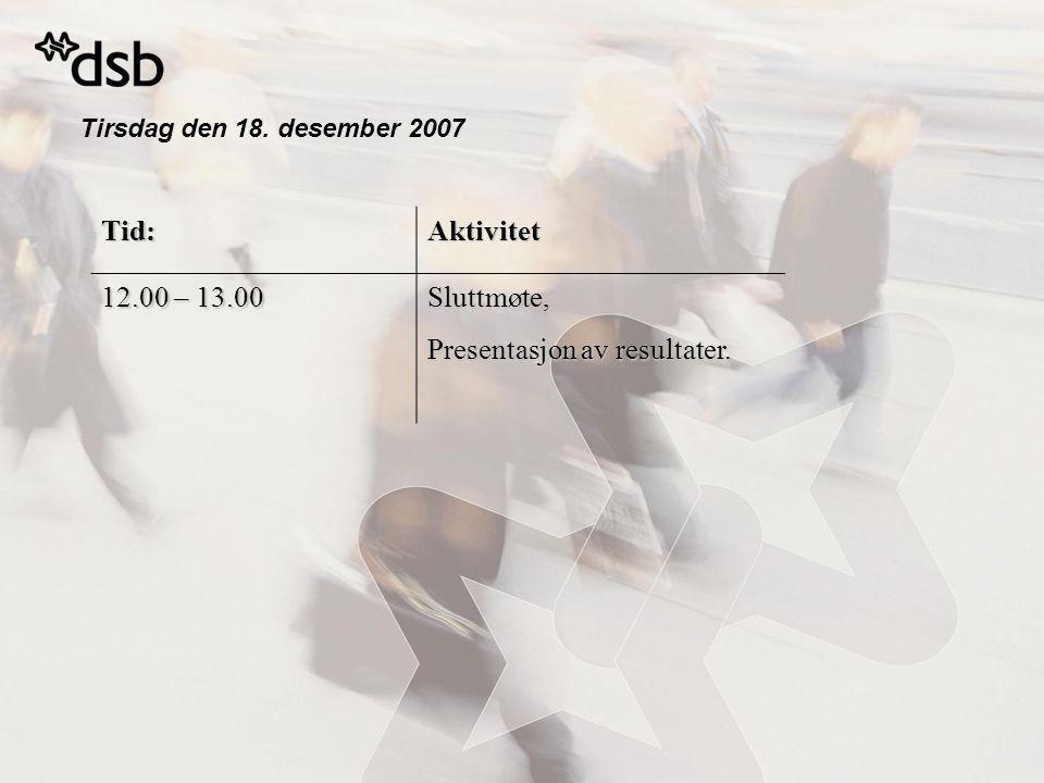 Tirsdag den 18. desember 2007 Tid:Aktivitet 12.00 – 13.00 Sluttmøte, Presentasjon av resultater.