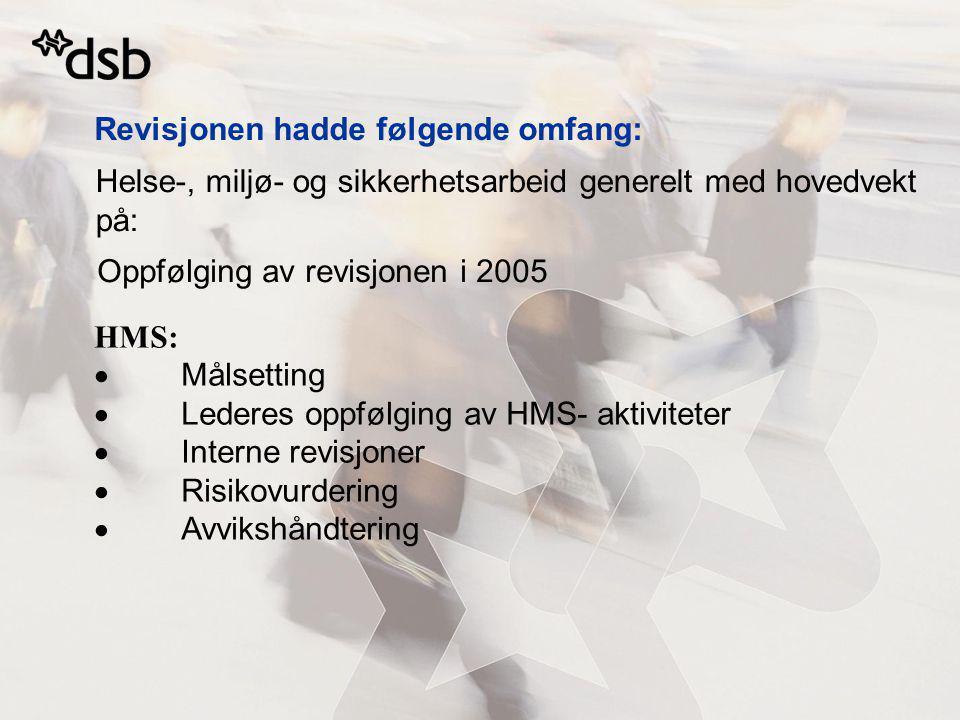 Helse-, miljø- og sikkerhetsarbeid generelt med hovedvekt på: Revisjonen hadde følgende omfang: Oppfølging av revisjonen i 2005 HMS:  Målsetting  Le