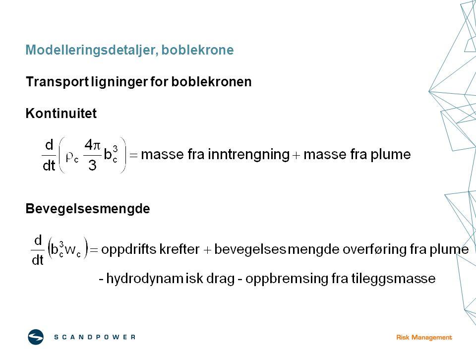 Modelleringsdetaljer, boblekrone Transport ligninger for boblekronen Kontinuitet Bevegelsesmengde