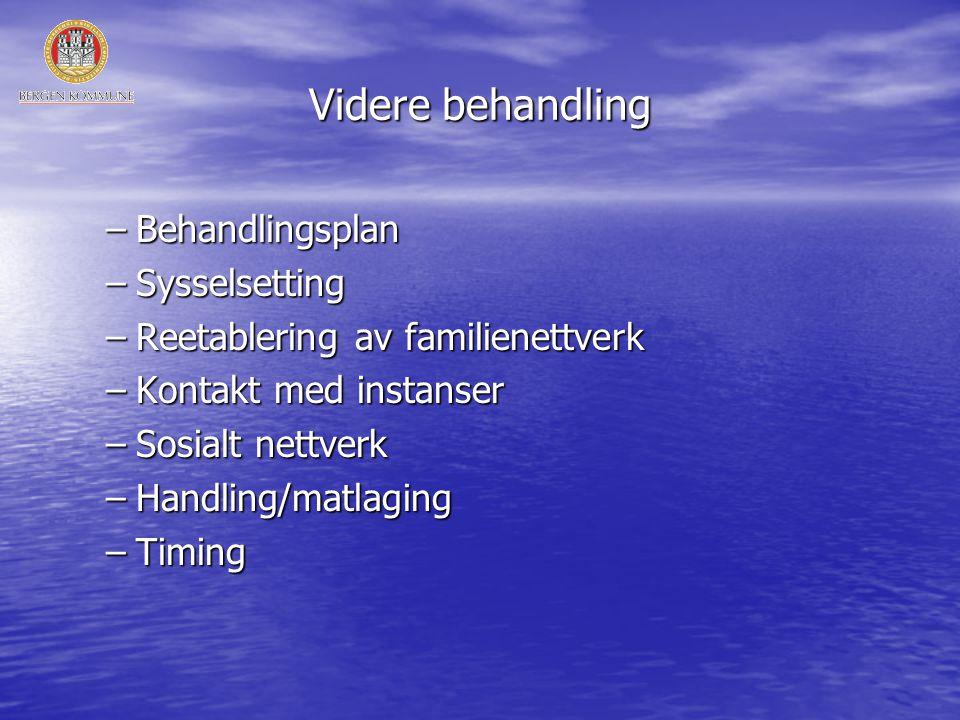 Videre behandling –Behandlingsplan –Sysselsetting –Reetablering av familienettverk –Kontakt med instanser –Sosialt nettverk –Handling/matlaging –Timing