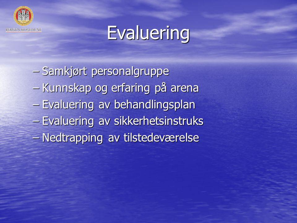 Evaluering –Samkjørt personalgruppe –Kunnskap og erfaring på arena –Evaluering av behandlingsplan –Evaluering av sikkerhetsinstruks –Nedtrapping av tilstedeværelse