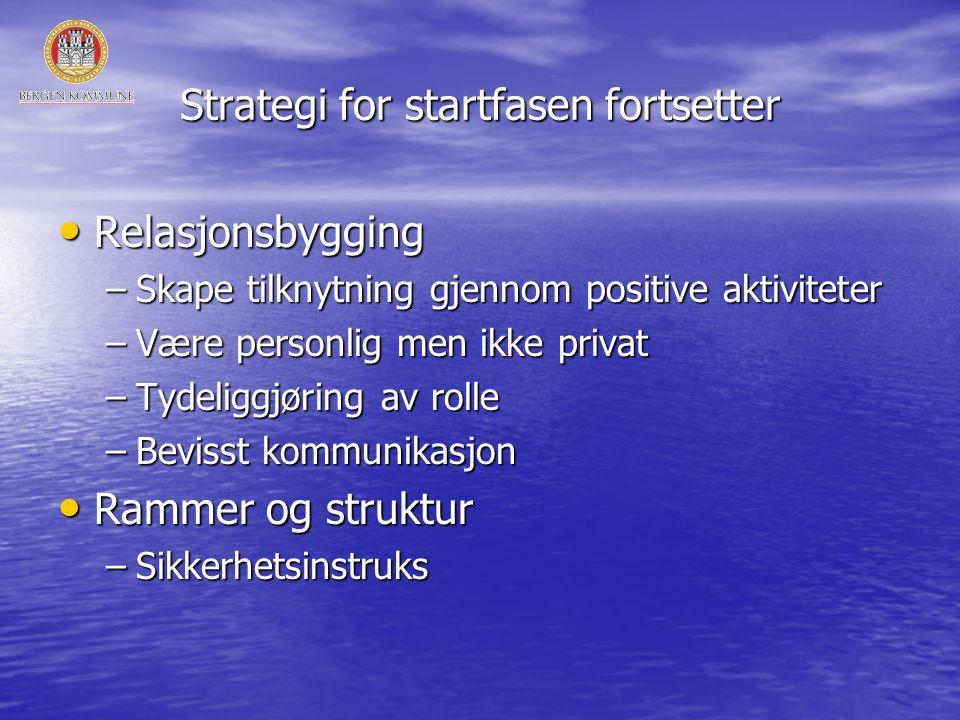 Strategi for startfasen fortsetter • Relasjonsbygging –Skape tilknytning gjennom positive aktiviteter –Være personlig men ikke privat –Tydeliggjøring av rolle –Bevisst kommunikasjon • Rammer og struktur –Sikkerhetsinstruks