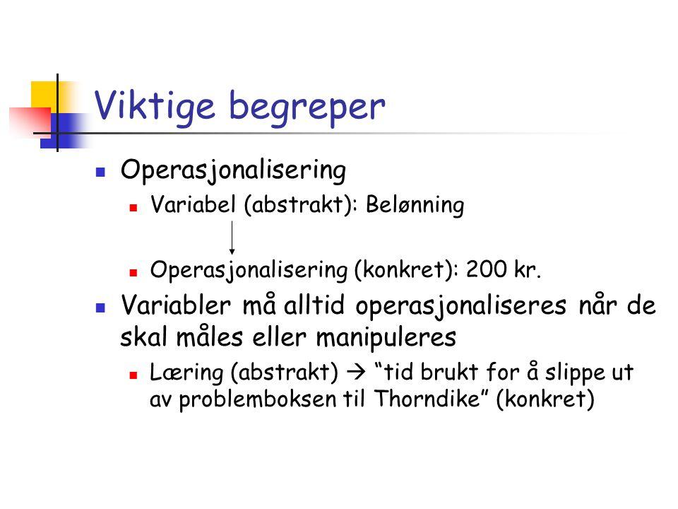 Viktige begreper  Operasjonalisering  Variabel (abstrakt): Belønning  Operasjonalisering (konkret): 200 kr.  Variabler må alltid operasjonaliseres