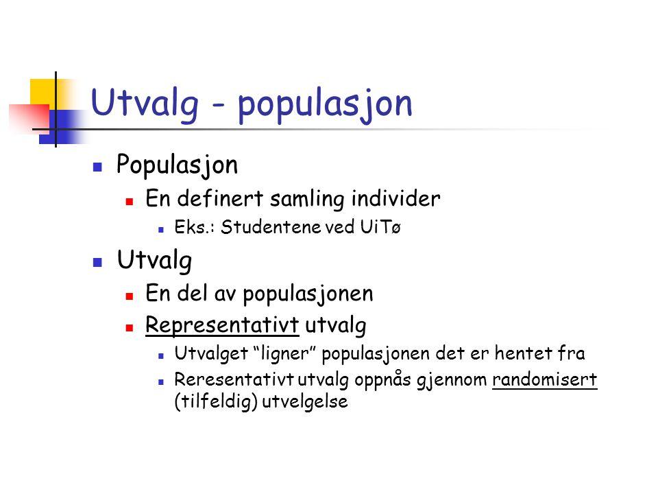 Utvalg - populasjon  Populasjon  En definert samling individer  Eks.: Studentene ved UiTø  Utvalg  En del av populasjonen  Representativt utvalg