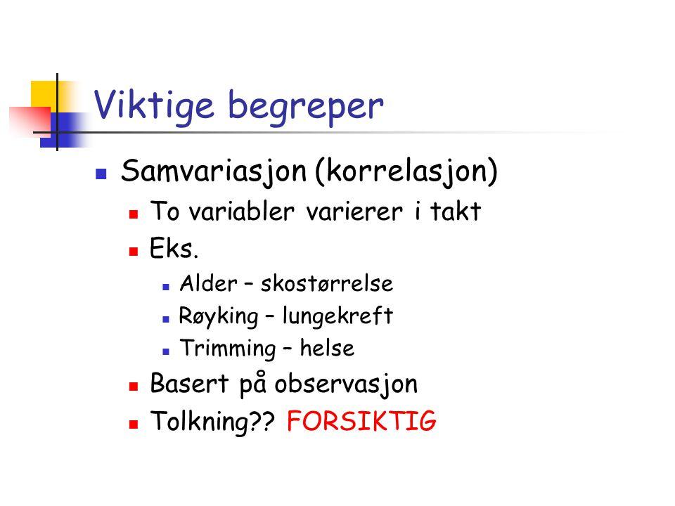 Viktige begreper  Samvariasjon (korrelasjon)  To variabler varierer i takt  Eks.  Alder – skostørrelse  Røyking – lungekreft  Trimming – helse 