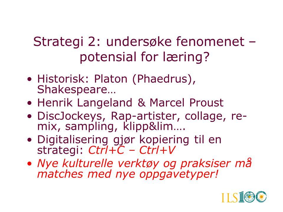•Historisk: Platon (Phaedrus), Shakespeare… •Henrik Langeland & Marcel Proust •DiscJockeys, Rap-artister, collage, re- mix, sampling, klipp&lim…. •Dig