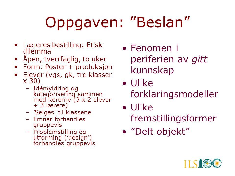 """Oppgaven: """"Beslan"""" •Læreres bestilling: Etisk dilemma •Åpen, tverrfaglig, to uker •Form: Poster + produksjon •Elever (vgs, gk, tre klasser x 30) –Idém"""