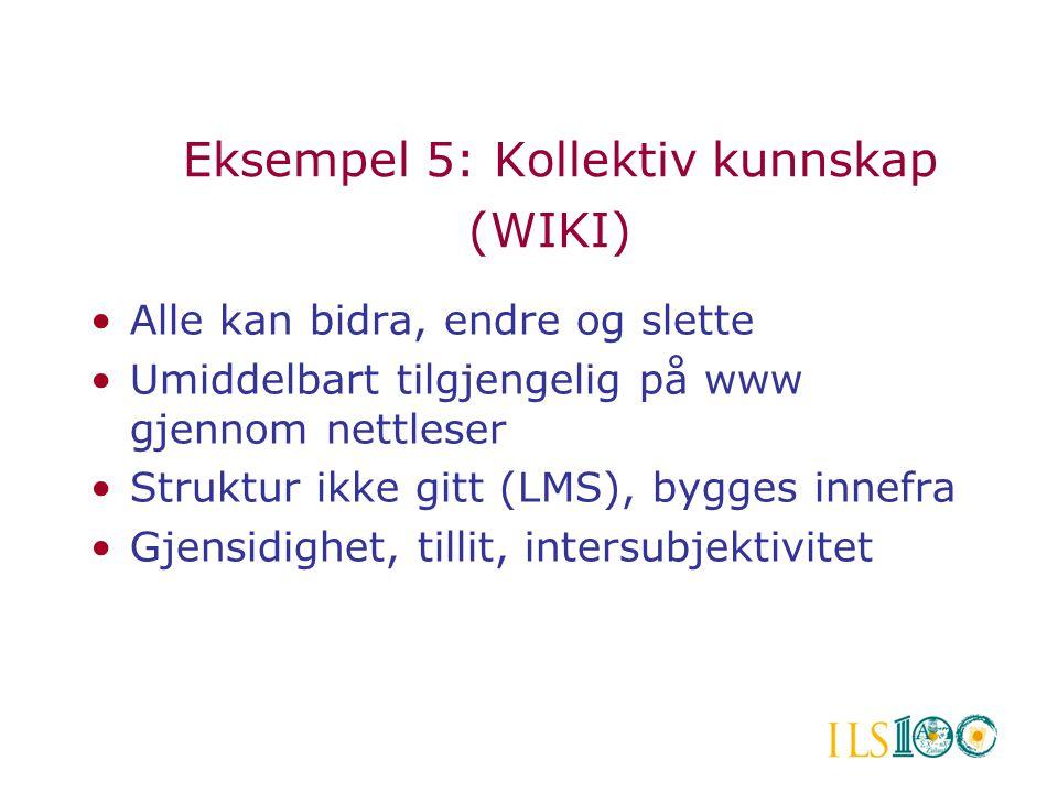 Eksempel 5: Kollektiv kunnskap (WIKI) •Alle kan bidra, endre og slette •Umiddelbart tilgjengelig på www gjennom nettleser •Struktur ikke gitt (LMS), b