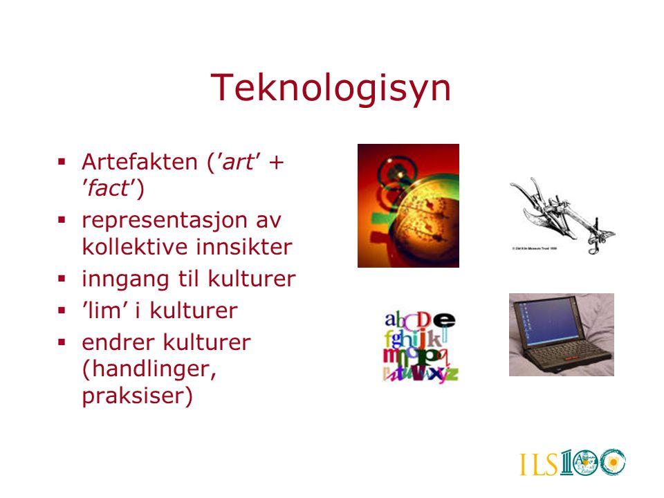 Teknologisyn  Artefakten ('art' + 'fact')  representasjon av kollektive innsikter  inngang til kulturer  'lim' i kulturer  endrer kulturer (handl